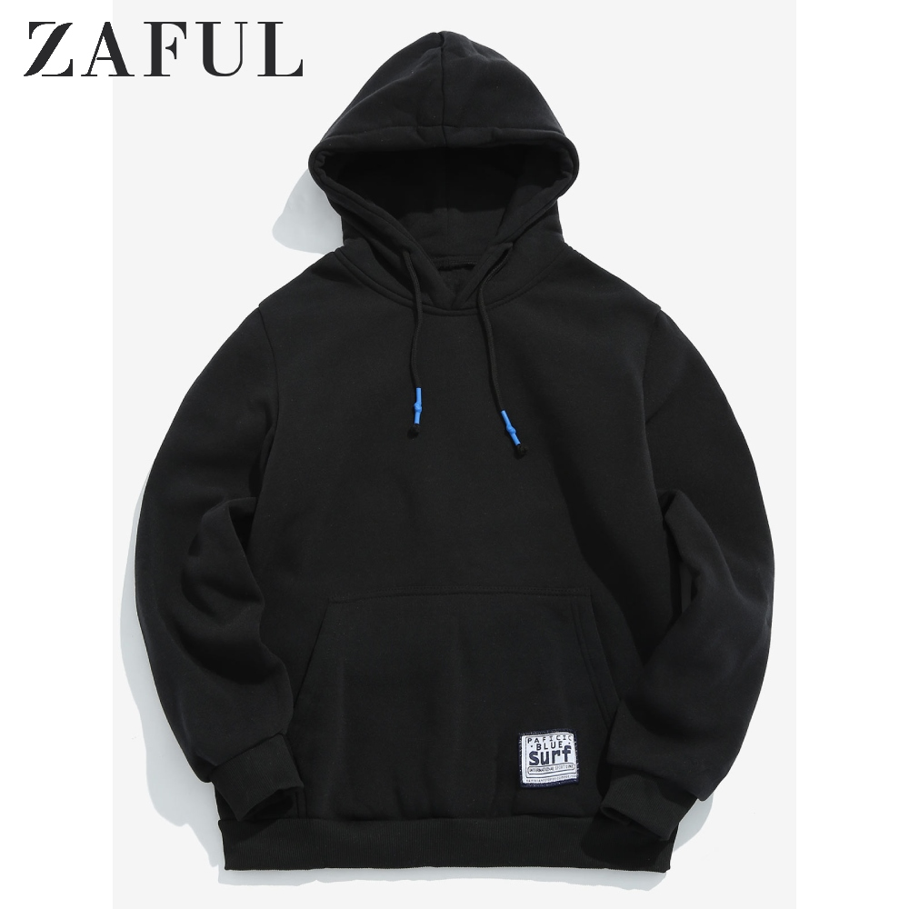 ZAFUL Solid Color Pouch Pocket Fleece Hoodie Basic Hooded Sweatshirt Top Simple Style Sweatshirts Autumn Warm Mens Soft Hoodies