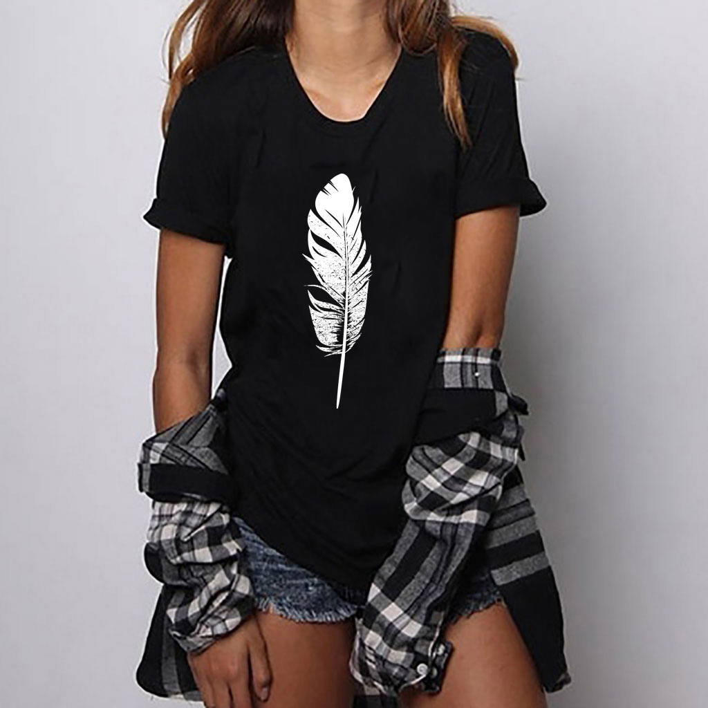 Hillbilly Summer Black White Feather T-shirt Women Harajuku Graphi Printed Tee Femme Fashion Casual O-Neck Dames Kleding Zomer