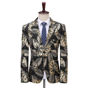 Male Golden Leaves Printing Fashion Slim Fits Suit Coat Nightclub Men's Party Banquet Blazer Jacket Single Button Man New Suits