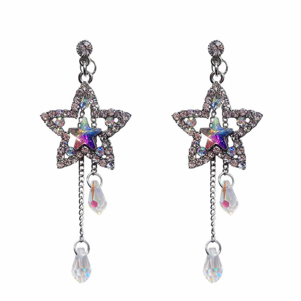 2019 New Crystal Bling Bintang Berongga Waterdrop Panjang Rumbai Drop Anting-Anting untuk Wanita Indah Berlian Imitasi Anting Fashion Perhiasan