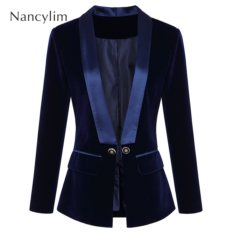 Women Blazer V Collar New Velvet Suit Coat Woman Small Coats Bussiness Women Blazer Autumn Winter