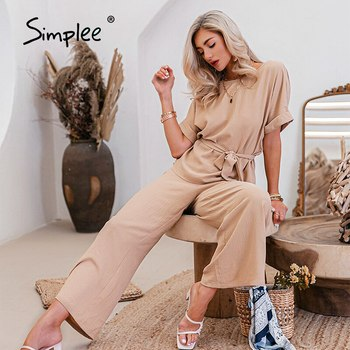 Simplee two-piece casual woman suits summer Sashe fashion long pants sets Solid t-shirt wide leg pants Pockets female loose suit 1