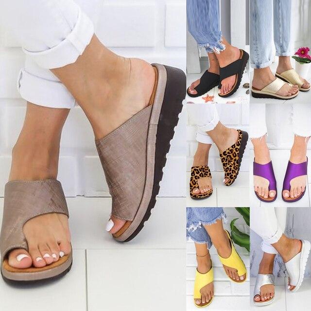 Delle donne DELLUNITÀ di elaborazione di Cuoio Scarpe Comode Piattaforma Suola Piatta Signore Casual Morbido Big Toe Correzione Del Piede Sandalo Shopping Suola Piatta Sandalo