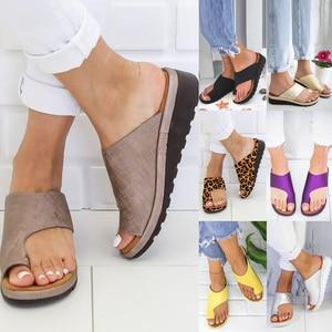 Image 1 - Women PU Leather Shoes Comfy Platform Flat Sole Ladies Casual Soft Big Toe Foot Correction Sandal Shopping Flat Sole Sandal