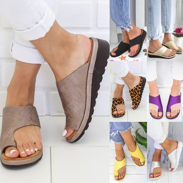 Women PU Leather Shoes Comfy Platform Flat Sole Ladies Casual Soft Big Toe Foot Correction Sandal Shopping Flat Sole Sandal