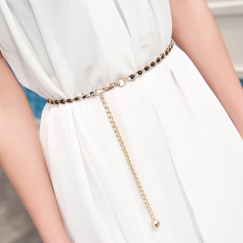 Fashion Imitation Pearl Beads Thin Waist Chain Belt Women Waistband Strap Dress Accessories 9 Colors