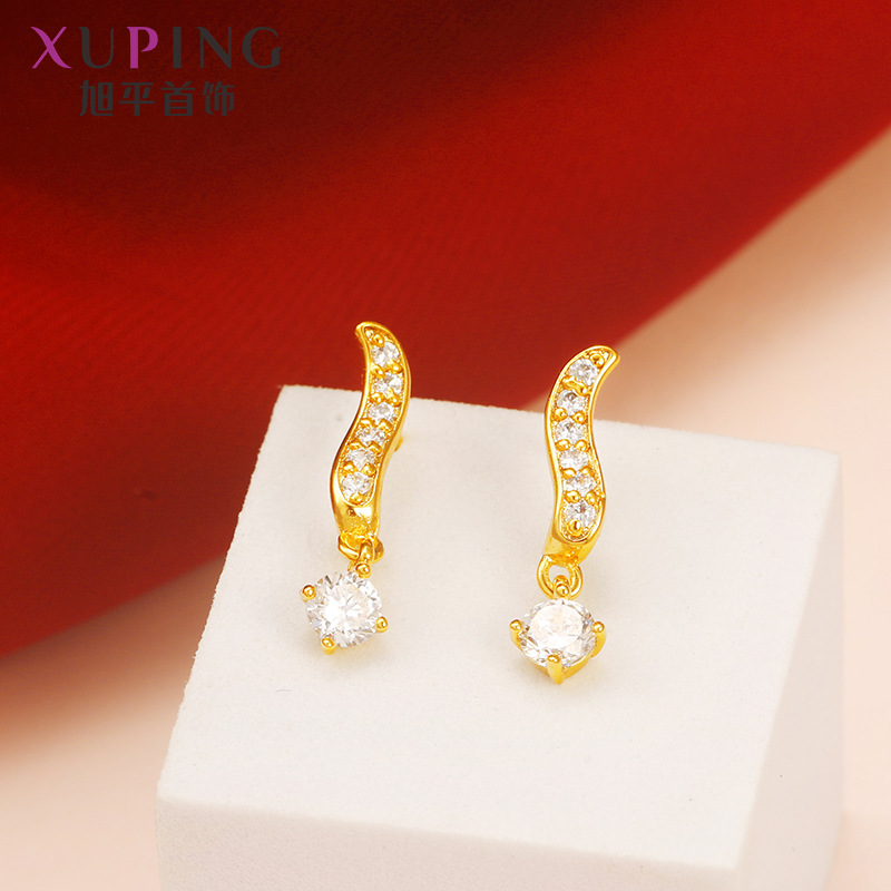 Ferry golden creative simple zircon earrings fashion hot ladies dance party birthday gift accessories