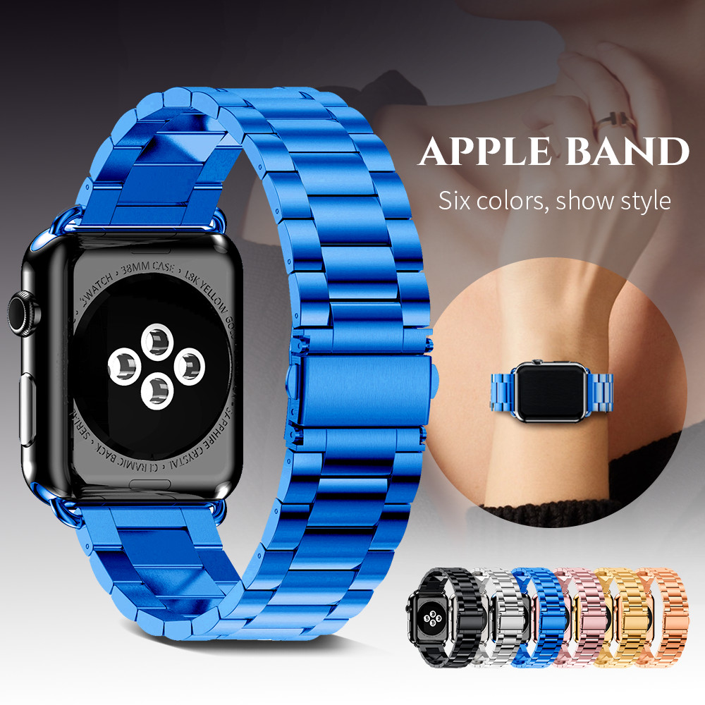 Rostfritt stålrem för Apple Watch Series 3/2/1 42mm 38mm metallarmband Tre länkar handledsband för iWatch 4 5 40mm 44mm
