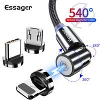 Essager 540 Drehen Magnetischer Kabel Micro USB Typ C Kabel Schnelle Lade Magnet Ladegerät Telefon Kabel Für iPhone Android Draht schnur