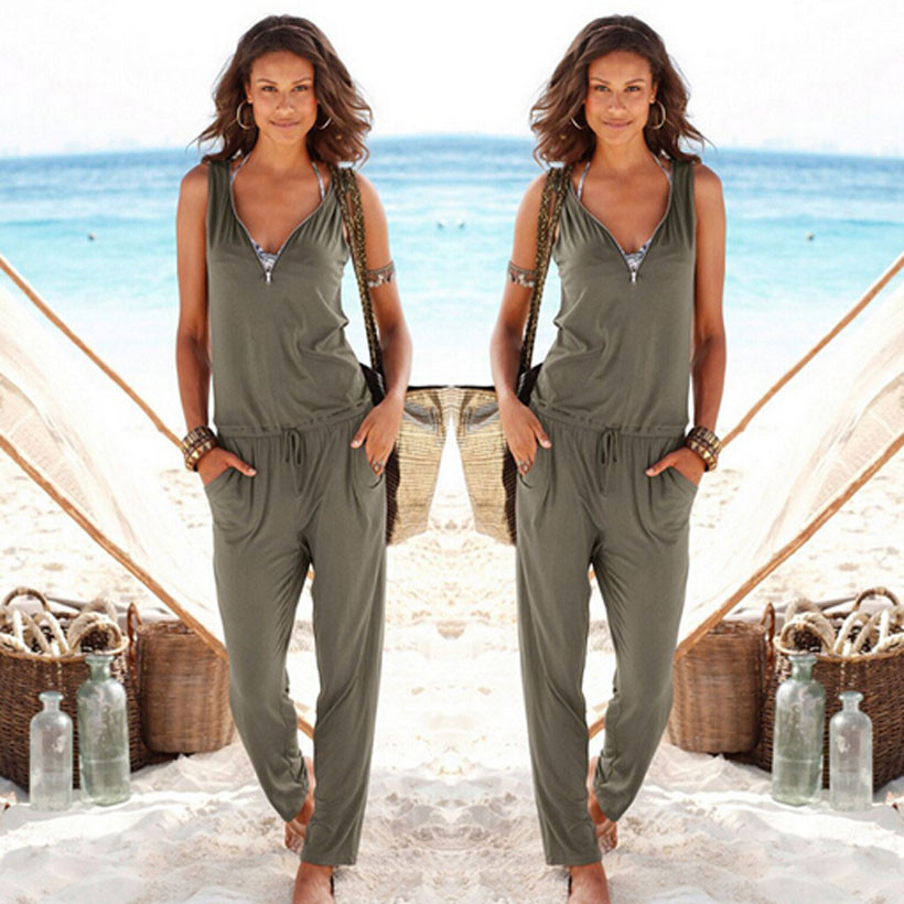 Sexy Sleeveless jumpsuit women long romper summer women lady bodysuit trousers beach jumpsuit coveralls playsuit female frock