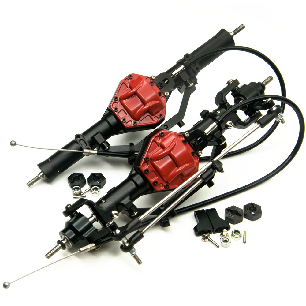 AXSPEED  Aluminum Front & Rear Axles With 4WD Lock For AXIAL SCX10 1/10 Scale RC Crawler