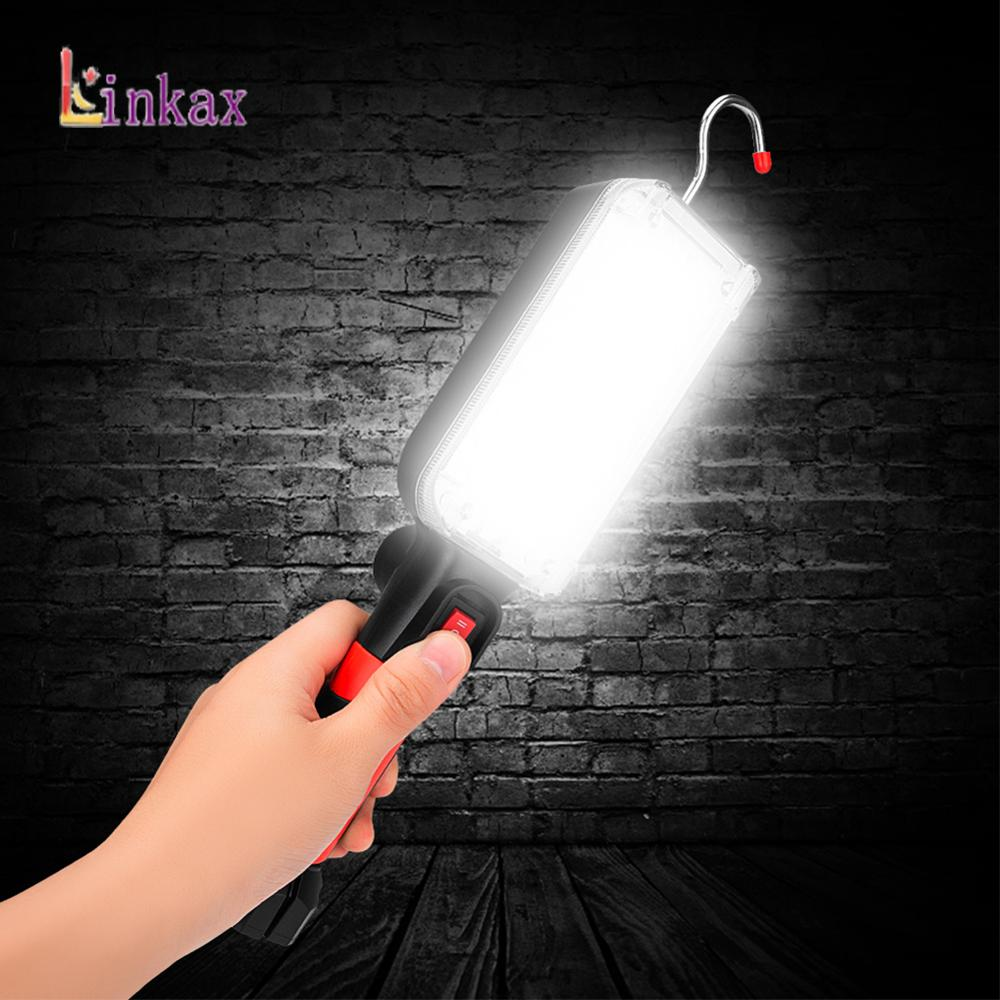 34 SMD LED Work Flashlights 360°Rotation Car Repair Working Lamp 18650 Powered Torch Magnet Hook Tent Camping Lantern