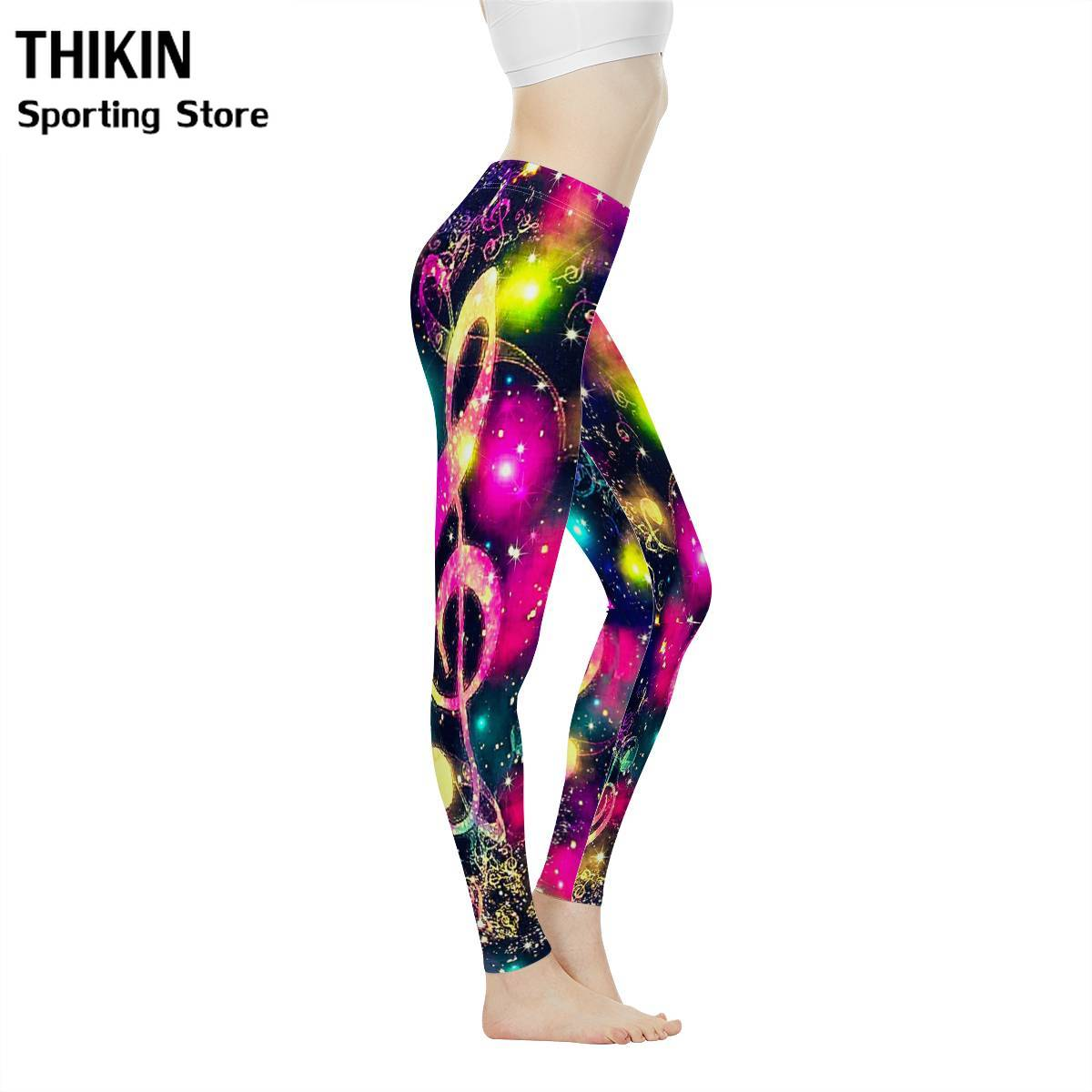THIKIN Fashion Pink Music Note Pattern Tight Pants Fitness Leggings for Women Workout Sports Running Ombre Seamless Leggings image