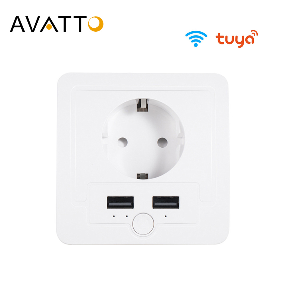 AVATTO Tuya 16A EU WiFi Smart Wall Socket With 2 USB Port,Smart Life APP Remote Control Smart Outlet Work For Google Home Alexa