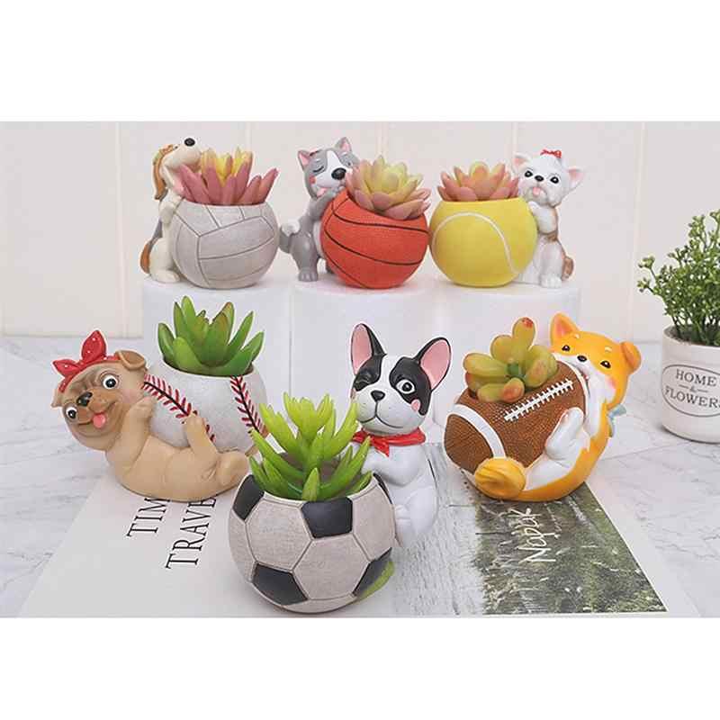 Hund und Tennis Förmigen Blumentopf Cartoon Sukkulente Topf Container Lagerung Becken Desktop Dekor Für Home Office (Gelb)