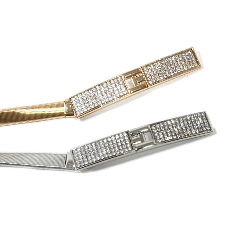 Elastische Frauen Gürtel Gold Silber Kette Taille Gürtel Metall Platte Weibliche Kleid Gürtel Damen Dünne Stretch Bund ceinture femme