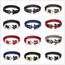 MKENDN Mode Leder Armband für Männer Schwarz Braid Multilayer Seil Kette Edelstahl Anker Männlichen Schmuck Pulseras Geschenke