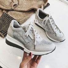 New Casual Wedge Sneakers Women Sports Fashion Shoes Breathable lightweight Lace-up Glitter sneakers shoes