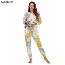 Пижамный комплект Женский Осенний одежда для сна с круглым вырезом