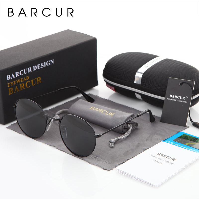 BARCUR Round Sunglasses Men/Women Colorful Reflective Coating Polarized Sun Glasses with Box free