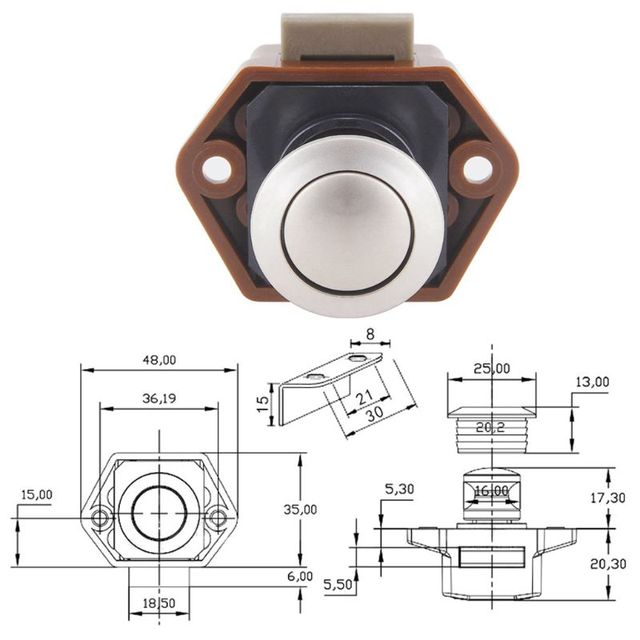 Diameter 20mm Camper Car Push Lock RV Caravan Boat Drawer Latch Button Locks For Furniture Hardware 5