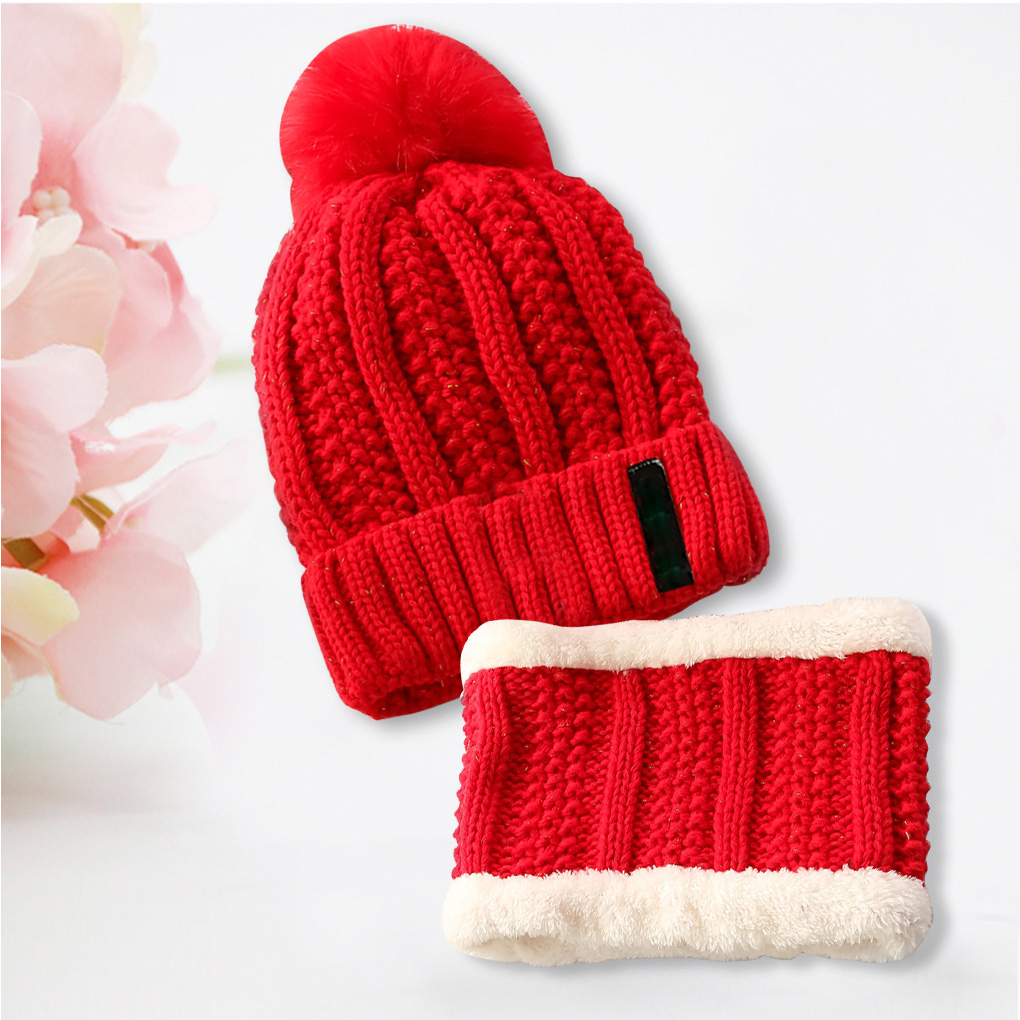 Fashion Hat&Scarf 2 Pieces Winter Hat Scarf For Women Girls Pompoms Beanies Scarves Set Woman Gift Accessories