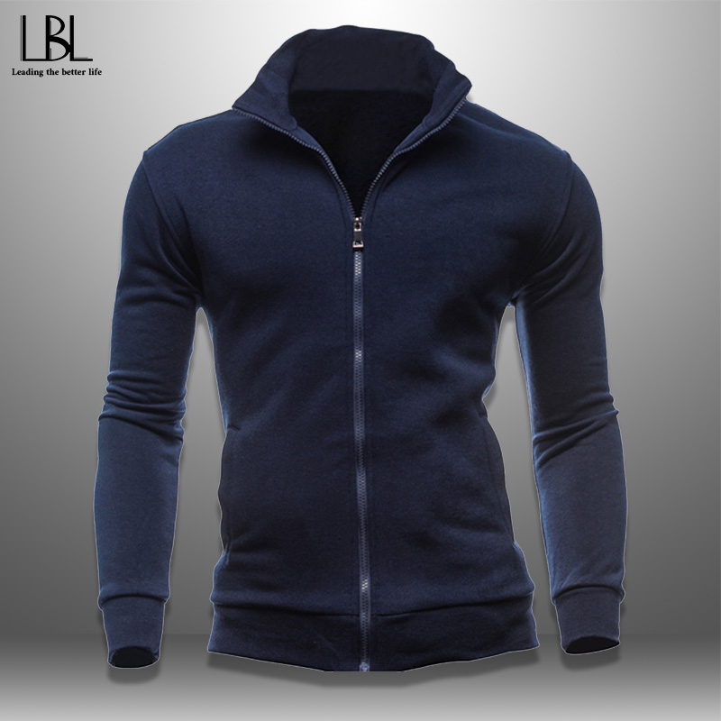 Autumn Men's Sweatshirt Men Casual Zipper Jacket Solid Pullover Hoody Sportswear Stand Collar Sweatshirts Slim Fit Hoodies New