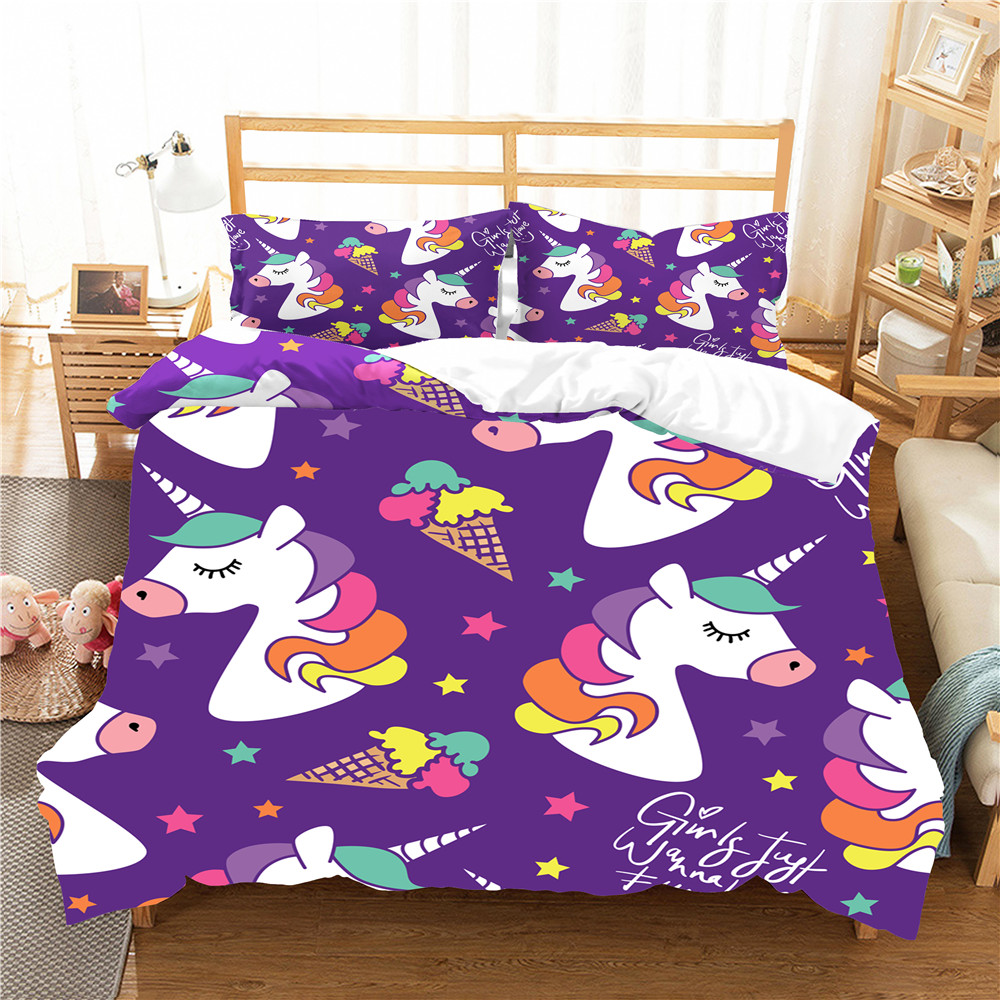 Bed Linen Soft Material Unicorn Printed Cartoon Duvet Cover Set Home Textiles Bed Linens With Pillowcase Bedroom Clothes