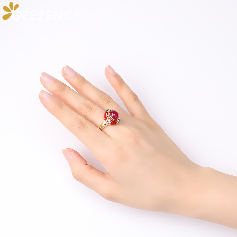 Vintage 925 Sterling Silver Thai Enamel Red Corundum Rings Fine Jewelry For Women Retro Ethnic Cloisonne Rings 2020 Summer New