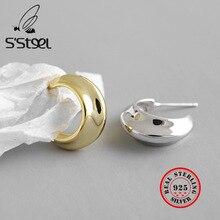 S'STEEL Silver 925 Jewelry Earring Minimalism Korean Stud Earrings For Women Gold Earings Pendientes Plata De Ley 925 Mujer Kupe hfyk 925 sterling silver earrings 2019 gold geometric stud earrings for women silver jewelry pendientes plata de ley 925 mujer