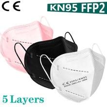 Mascarilla FFP2 KN95 no tejida, máscara con filtro para polvo, color blanco y negro, 95%