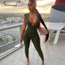 Simenualディープvネックリブロングジャンプスーツノースリーブ女性スキニー固体アーミーグリーンボディコンファッションプッシュアップワンピース衣装