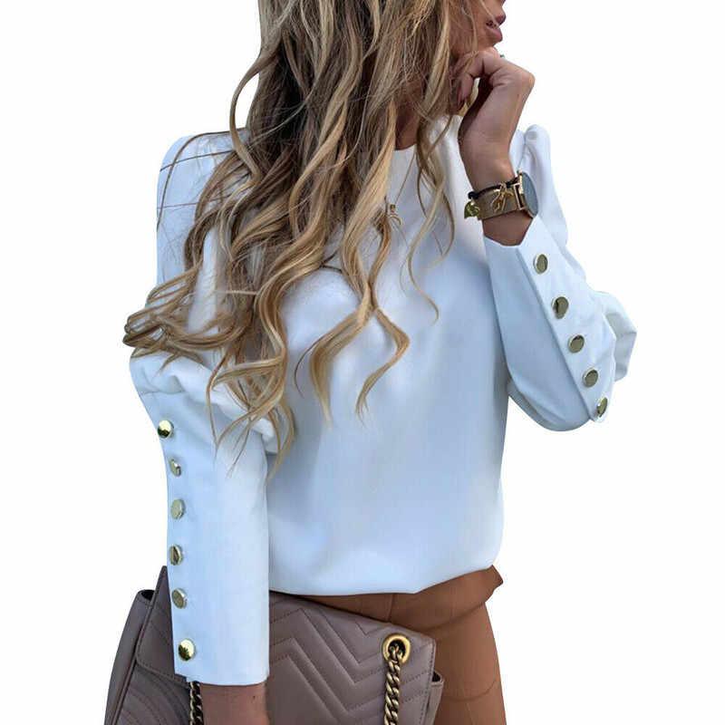 2019 Werkkleding Vrouwen Blouses Lange Mouwen Back Metal Knoppen Shirt Casual O Hals Effen Plus Size Tops Herfst Blouse drop Shipping