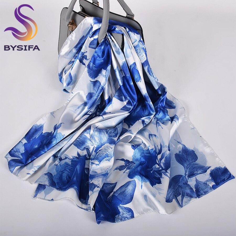 [BYSIFA] Blue White Roses Women Silk Scarf Cape 2020 New Spring Satin Long Scarves Wraps Elegant Ladies Head Scarf 160*70cm