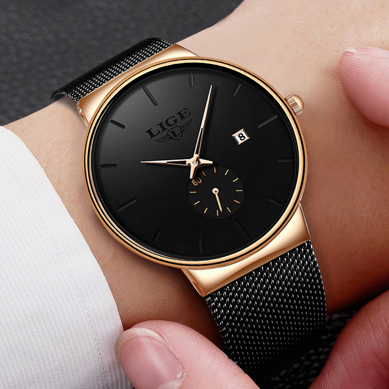 LIGE Fashion Watches Casual Waterproof Quartz Clock Mens Watches Top Brand Luxury Ultra Thin Date Sports