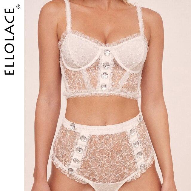 Ellolace dentelle Lingerie soutien-gorge Transparent sous-vêtement femme soutien-gorge creux romantique voir à travers haut Sexy Bralette