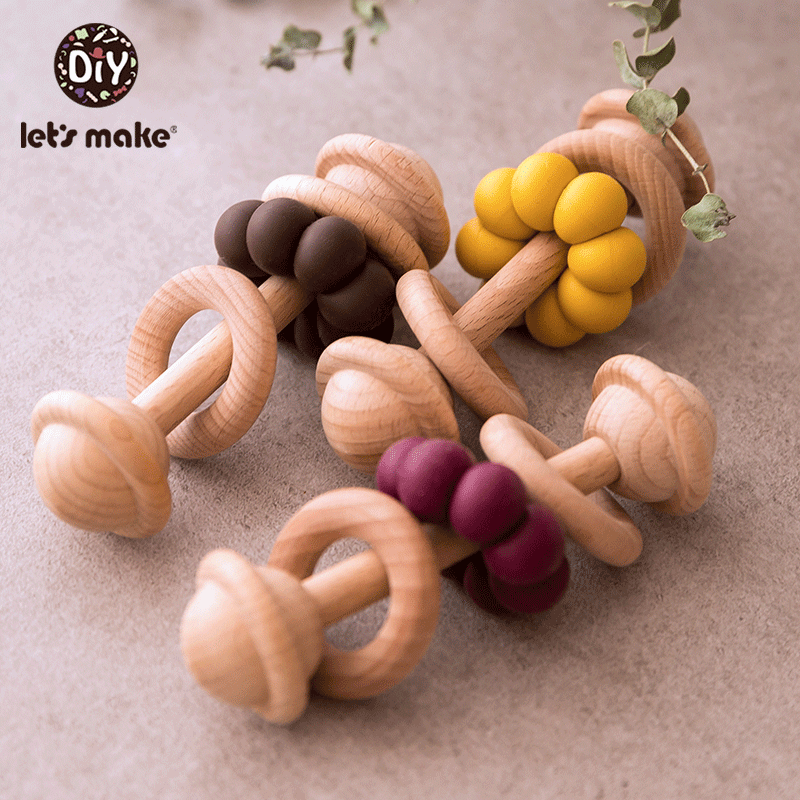 Let's Make 1pc Baby Hanging Teether Toys Beech Wooden Ring Silicone Beads Wood Bell For Developmental Educational Musical Rattle