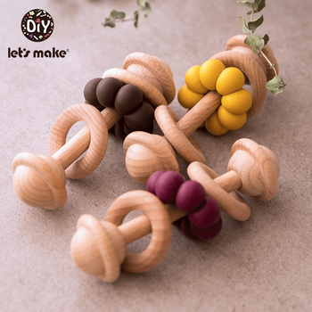 Let's Make 1pc Wooden Teether Bells Wood Rattles Baby Hanging Teether Toys Beech Wooden Ring Silicone Beads Wood Bell For Rattle let s make beech wooden teether ring 10pc 70mm baby teething wooden crafts toys for baby rattles wood ring crib mobile teether