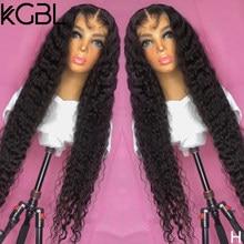 KGBL couleur naturelle bouclés 13*6 dentelle avant perruques de cheveux humains pré-plumés 8-24 ''non-remy 180% densité pour les femmes brésilien moyen