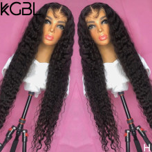 KGBL Natural Color Curly Lace Front Human Hair Wigs Pre-Plucked 8-24'' Non-Remy 180% Density For Women Brazilian Medium