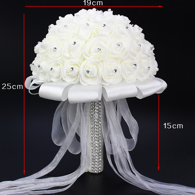 Artificial Wedding Bouquets Hand Made Rose Flower Rhinestone Bridesmaid Bridal Wedding Bouquet de mariage wedding accessories 2