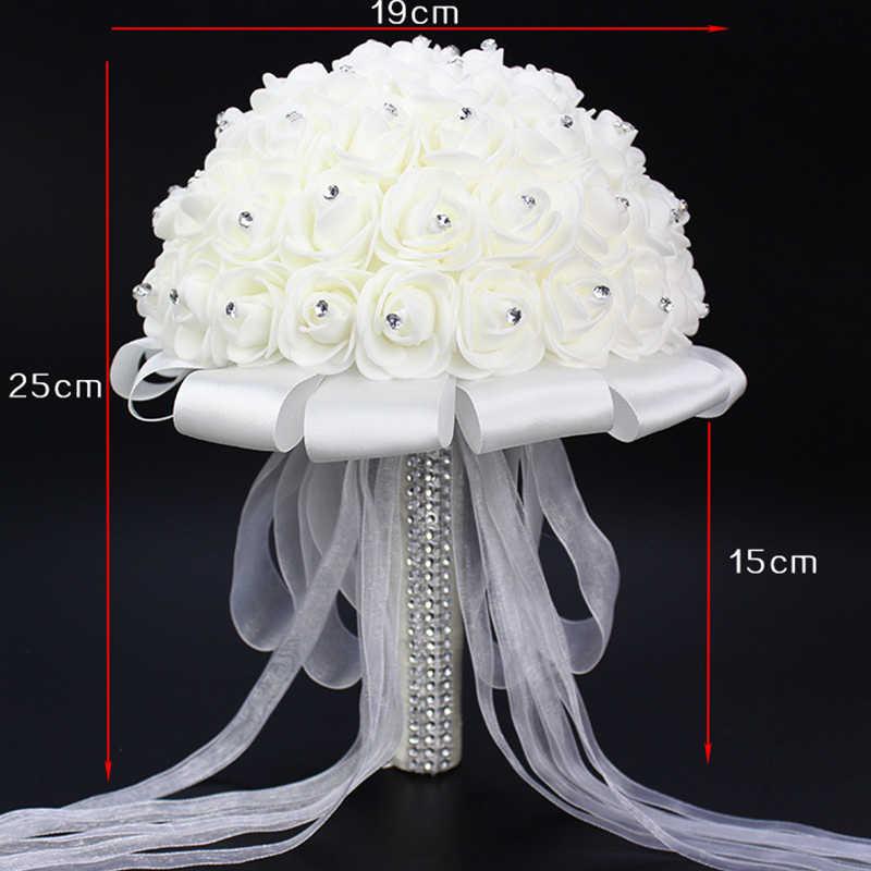 Bouquet Da Sposa artificiale Fatto A Mano Del Fiore della Rosa del Rhinestone della Damigella D'onore Da Sposa Da Sposa Bouquet de mariage abito da sposa accessori