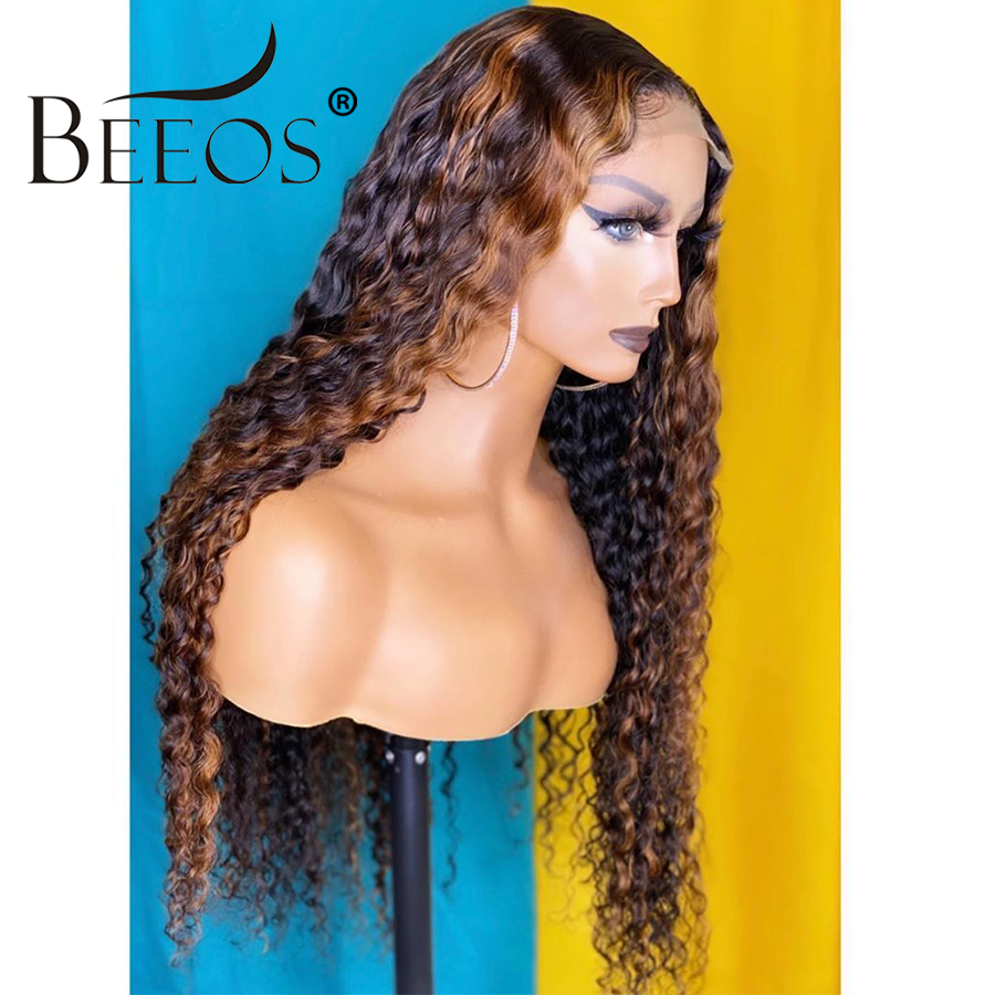 13*6 Deep Part Lace Front Human Hair Wig Brazilian Remy Hair Curly Highlight Color Hair Pre Plucked Hair Line Bleached Knots
