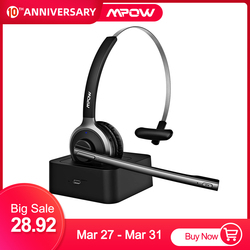 Mpow BH231 Office Bluetooth Headset with Charging Stand Dock Wireless Over Head Earpiece with Noise Reduction Mic Headphones New