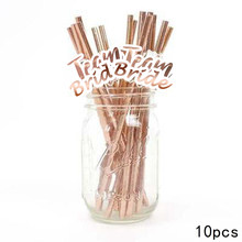 10pcs Rose Gold Team Bride Straws Rustic Party Wedding Bride to be Decor Weeding Decor for Weddings Bachelor Party Bridal shower