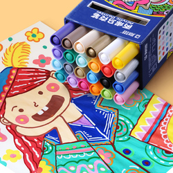 Sta 12/24 צבעים/סט אקריליק סמן עט קבוע ציור עבור גוף קרמיקה רוק זכוכית פורצלן ספל עץ בד בד ציור