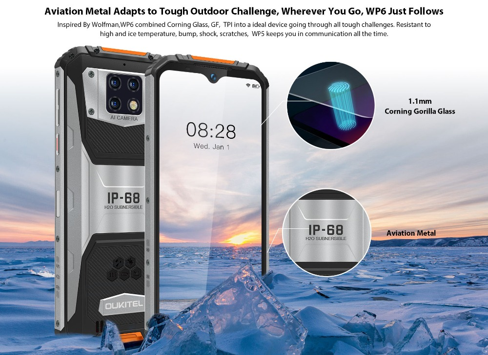 OUKITEL WP6 10000mAh 6.3'' FHD+ IP68 Waterproof Mobile Phone 4GB 128GB Octa Core 16MP Triple Cameras Rugged Smartphone