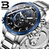 Binger relógios masculinos de alta qualidade marca superior luxo 316l multifunções relógio mecânico masculino automático 5atm à prova dwaterproof água esporte relógio