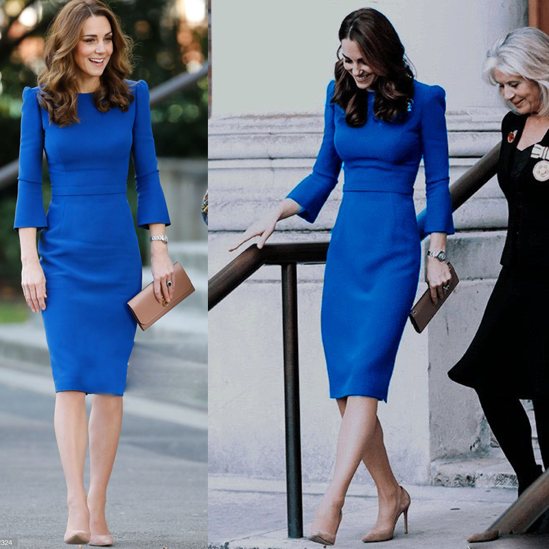 Kate Middleton Autumn New Women'S High Quality Fashion Party Work Casual Sexy Vintage Elegant Chic Blue Long Sleeve Pencil Dress