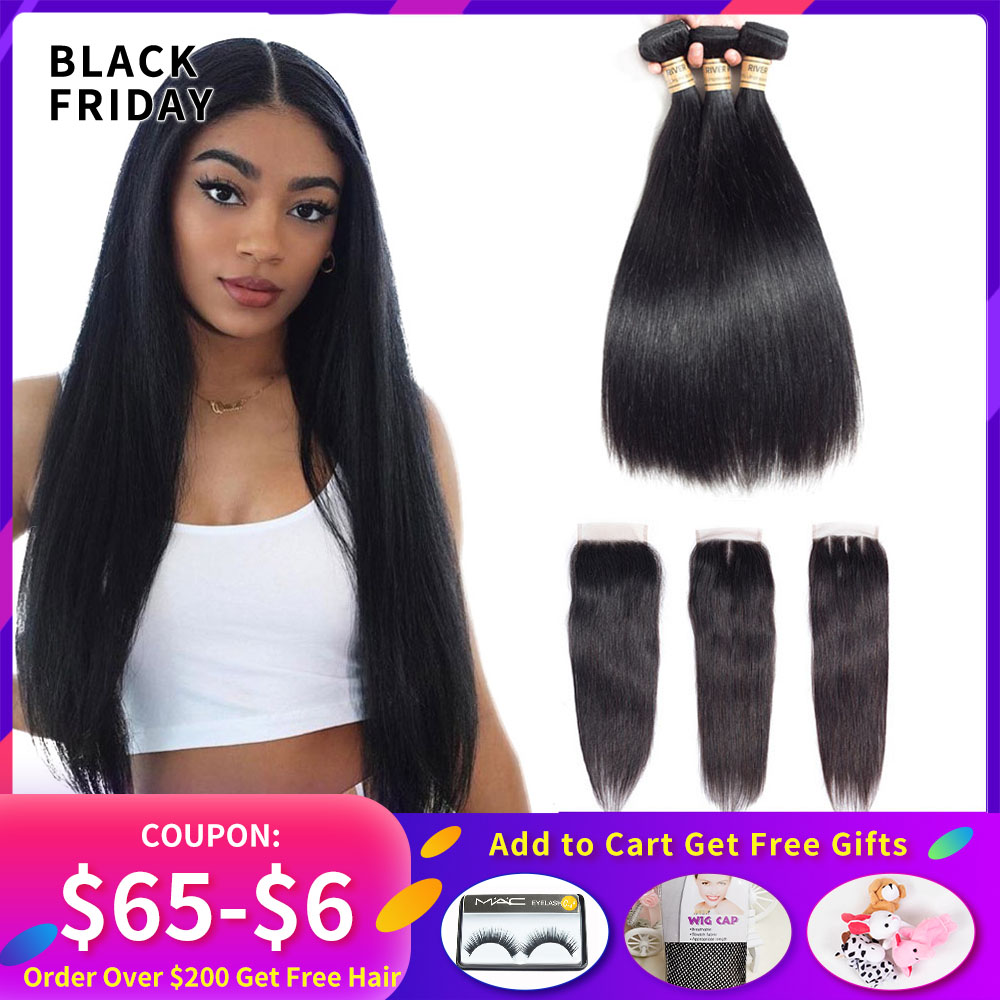 Brazillian Straight Hair 3 Bundles With Closure 100% Non Remy Human Hair Bundles Weave With Lace Closure  4*4 Free Part Closure